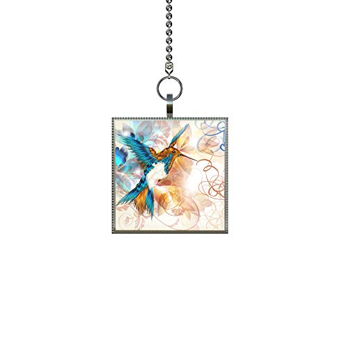 Hummingbird Fan Pull - Gotham Decor Abstract Hummingbird Fan/Light Pull Square Pendant with Chain