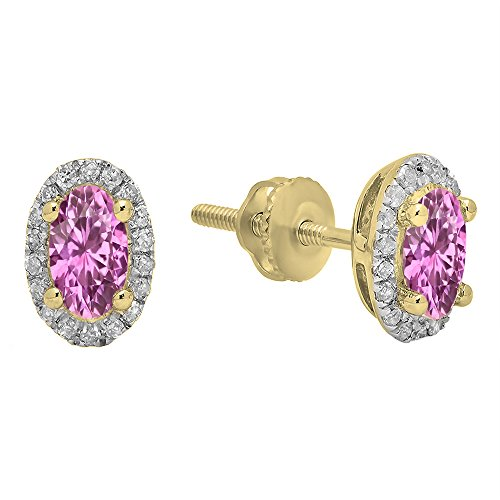 6x4mm Oval Pink Sapphire Earring - 4