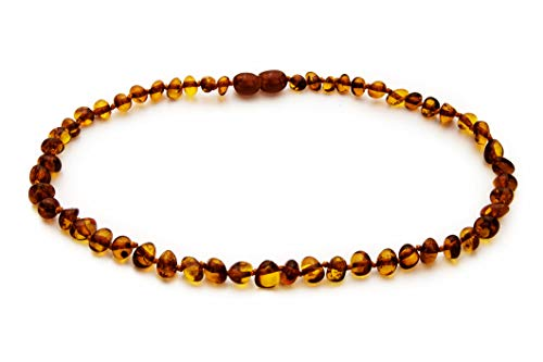 Natural Baltic Amber Teething Necklace For Babies - Anti Inflammatory, Drooling & Teething Pain Relief - Cognac Color - Polished - Unisex, 12.5 Inches, Screw Clasp, Knots - Perfect Baby Shower Gift