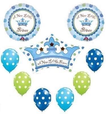 IT'S A BOY Prince POLKA DOT Baby SHOWER 9 Balloons SET