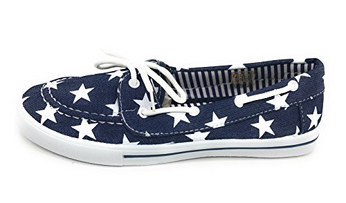 Round Toe Lace Sneaker Comfy On EASY21 Berry Shoe Flat Canvas Denim up Boat Star Blue Slip Tennis H7vPwqt7B