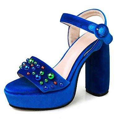 Robusto Vestido Mujer Sandalias Informal Tacón Negro Fiesta y LvYuan Blue Noche Vellón Azul Otro xXqEWwd