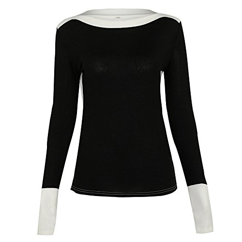 UOFOCO Long Sleeve Tops Womens Fight Color Sweaters Sexy O Neck Jumper Blouse Black ()