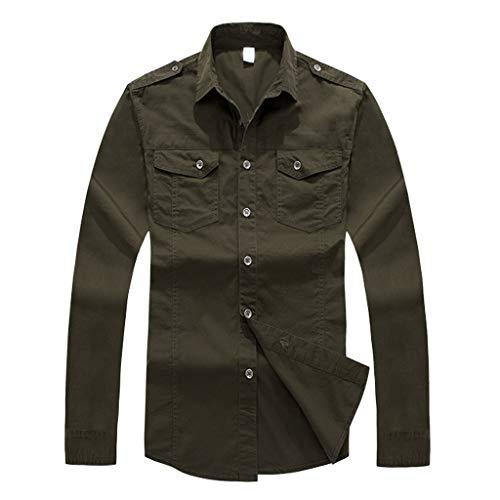 sanfashion Classique Armée Casual Tee Verte Manches À Homme Chemise Boutonnée Tops Longues Shirt Militaire Bomber qwfnE4