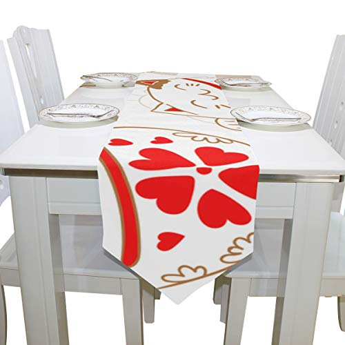 Gednix Table Cover Japan Lucky Cat Fortunate Kitty Printed Table Runner Decorative Table Cloths for Kitchen Dining Room Decoration Decor Table Covers Table Toppers 13x90 Inch