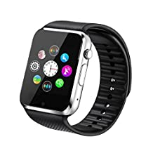 Fantime Smart Watch Bluetooth Wrist Watches Phone Mate SIM TF Camera Pedometer for Android and iPhone( Black )