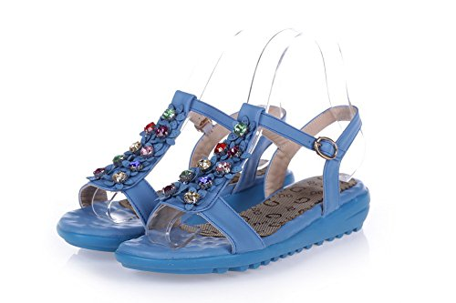 VogueZone009 Womens Open Toe Low Heel Soft Material PU Solid Sandals with Glass Diamond Skyblue myV5v3w