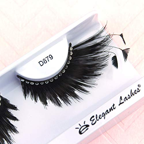 (Elegant Lashes D879 Premium Feather Eyelash (Long, Thick Black False Eyelash with Feather Accent Tips and Rhinestone Band) Halloween Dance Rave)
