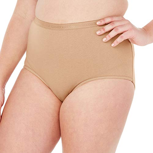 Comfort Choice Women's Plus Size 10-Pack Pure Cotton Full-Cut Brief - Nude Pack, 14 ()