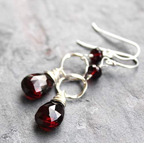 (Garnet Earrings Sterling Silver Hammered Circles Dangle Drops Dark Red Gemstones)