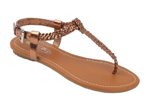 Gladiator Bronze Women's Sandals New Leather Faux Flats sunville Shiny Upper q4vZPwxR