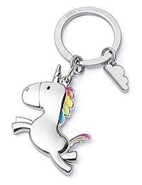 Flying Unicorn Keychain with Cloud Rainbow Key holder Fairytales Magical Shiny finish