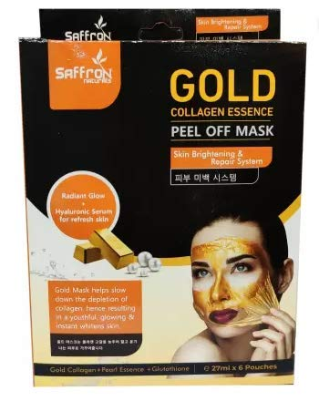 Gold Collagen Essence Peel off Mask Lightens Skin Tones Produce Naturally Glowing Skin (27ml x 6 Pouch) (162 ml)