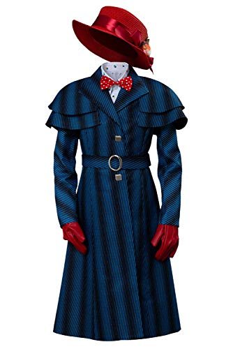 Mary Poppins Halloween Outfit (COSMOVIE Mary Cosplay Costume for Kids Halloween Role Play Costumes Outfit Full)
