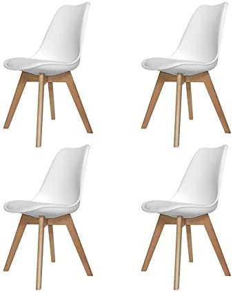 Ventamueblesonline Pack 4 SILLAS New Tower Wood Blanca Extra ...