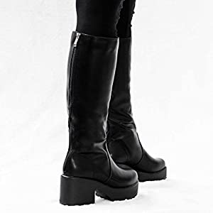 PLATFORM BLOCK HEEL KNEE HIGH BIKER BOOTS BLACK LEATHER STYLE SZ 7