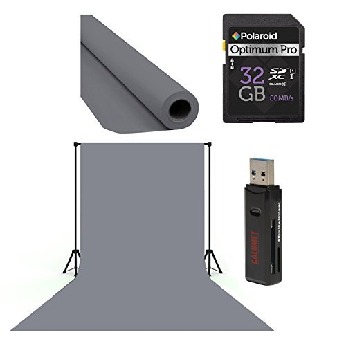 Jtl Heavy Duty Clamp (Calumet Photo and Video Studio Adjustable 10ft X 12ft Heavy-duty Background For Muslin / Seamless Paper Support System With carrying bag, Polaroid 32GB, Card Reader & Gray Seamless Background Paper)