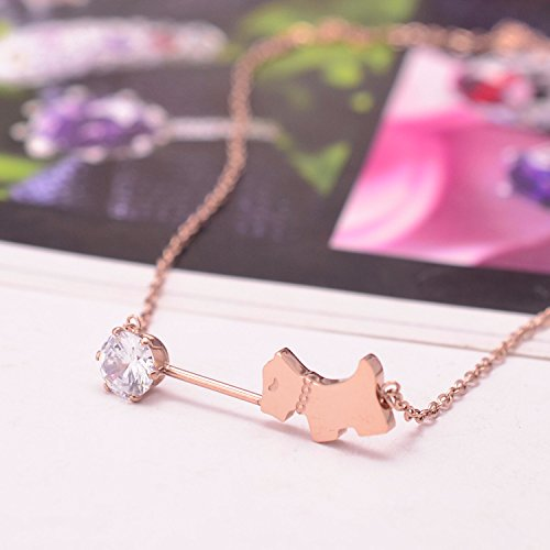 usongs 2018 promotional jewelry steel-plated 18krose gold diamond necklace pendant lucky puppy dog ??Zodiac