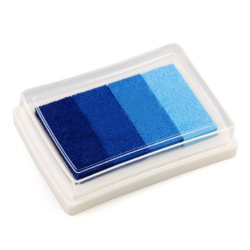 Hilai Blue Multi Gredient 4 Colors Ink Stamp Pad Inkpad Oil Based Inkpad Child-safe