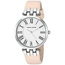 Anne Klein Women's AK/2619SVLP Silver-Tone and Light Pink Leather Strap Watch
