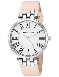 Anne Klein Women's AK-2619SVLP Silver-Tone and Light Pink Leather Strap Watch