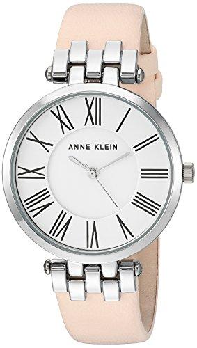 Anne Klein Women's AK/2619SVLP Silver-Tone and Light Pink Leather Strap Watch