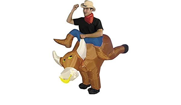 DISONIL Disfraz Hinchable Jinete de Rodeo con Toro: Amazon.es ...