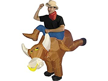 DISONIL Disfraz Hinchable Jinete de Rodeo con Toro: Amazon ...