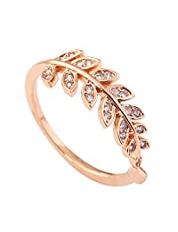 Acefeel Gold Plated Leaves Shape Mosaic AAA Zircon Fashion Popular Open Ring Valentine's Day Gift R222