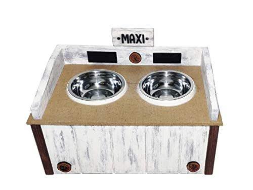 Comedero de madera para perro personalizado