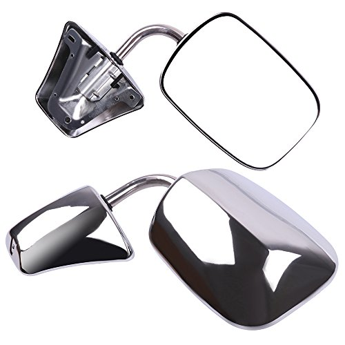ECCPP Towing Mirror Replacement fit 1973-1991 Chevy/Chevrolet GMC Jimmy Suburban C10 20 30/C/K1500 2500 3500/K15 25 35 Manual Stainless Mount Folding Chrome Side Mirror ()