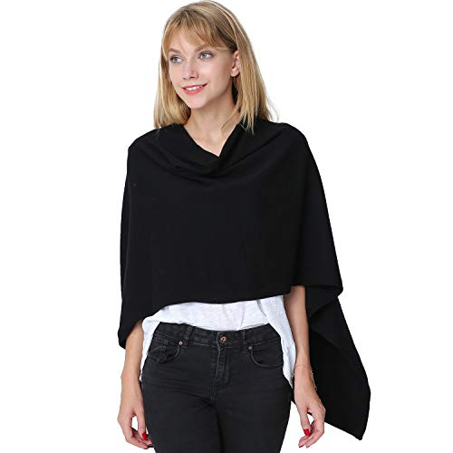 Womens Asymetrical 3-in-1 Pullover Topper Solid Faux Cashmere Poncho Scarf Cardigan ()