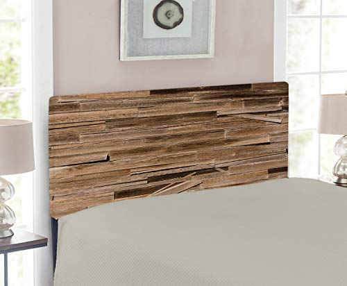 (Lunarable Rustic Headboard for Twin Size Bed, Worn Ruined Dated Oak Tree Background with Horizontal Bound Stick Stock Habitat Print, Upholstered Decorative Metal Headboard with Memory Foam, Brown)