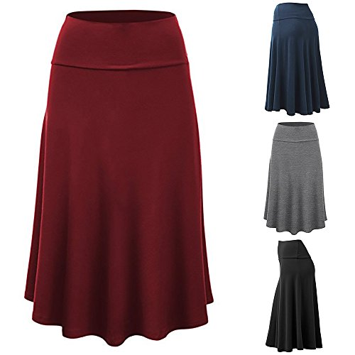 Birdfly Women's 4 Solid Color Knee-Length Empire Office Working Formal Casual Pleated Skirt Plus Size 2L 3L