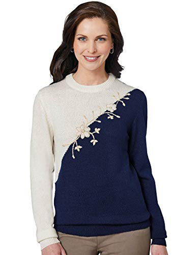 Maglione blu donna farfalla ricamato per a ambra r1Y8nrp