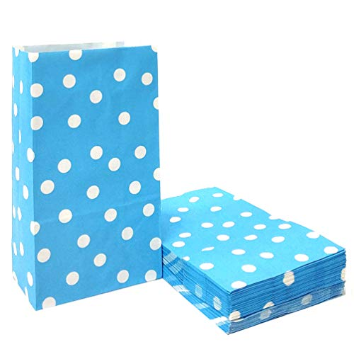 ADIDO EVA 50 PCS Paper Party Favor Bags Blue Polka Dot Paper Lunch Bags for Sweets Biscuits Nuts Chocolates Christmas Gifts Birthday Wedding Party (5.1 x 3.1 x 9.4 in Light Blue)]()