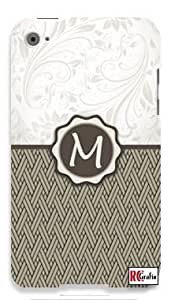 Monogram Initial Letter M Apple ipod 5 Ipod 5g Quality Hard Case Snap On Skin for ipod Gen 5 and 5, 5G (WHITE CASE)
