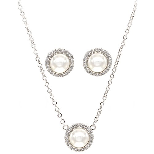Round Pearl Jewelry Set Necklace & Earrings AAA Cubic Zirconia For Women Wedding Party Prom (Silver) -