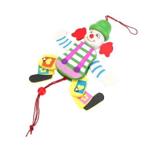 Clown Pull Toy - SODIAL(R) Wooden Clown Pull String Toy Arms Legs Go Up and Down Kids Toy - Random Color