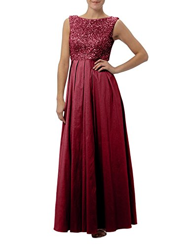 Festlichkleider Ballkleider Brautmutterkleider La Zahlreichen Lang A mit Weinrot Braut Linie Pailletten mia Taft Rock Abendkleider nS0Fn1
