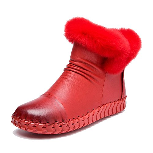 Warm Shoes Thicker Flat Female Boots Pregnant Ankle Heel Casual Soles Lazy Handmade Soft RED 35 Plush Cotton Leather qS4vp