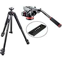 Manfrotto MT190X3 3 Section Aluminum Tripod w/ MVH502AH Pro Video Tripod Head with Flat Base and a Bonus Replacement Quick Release Plate