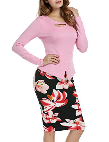 ANGVNS Womens Keyhole Floral Bodycon