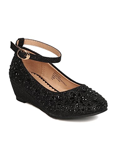 Little Angel Girls Glitter Rhinestone Wedge - GC47 by Black (Size: Big Kid -