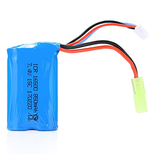NEXGADGET RC Car Rechargable Battery 7.4V 850mAh Li-Po Battery for 2.4Ghz 4WD High Speed 1:18 Racing Cars