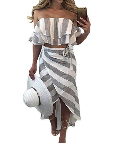 Seraih Women's Sexy Strapless Ruffles Striped Top and Irregular Striped Skirt
