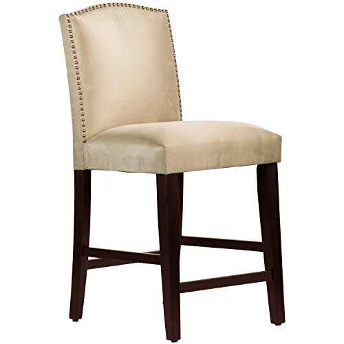 (Skyline Furniture Nail Button Arched Counter Stool, Premier Oatmeal)