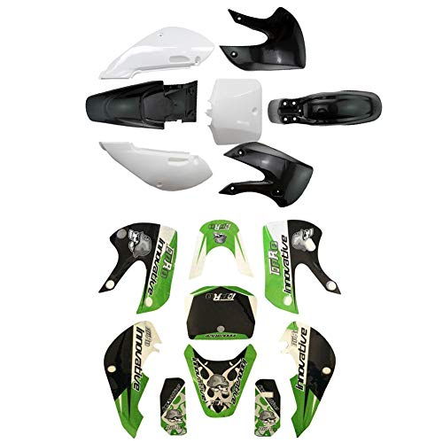 - 1 Set Plastic Fender Fairing Kit and Graphic Sticker fits for Kawasaki KX65 KLX100 KLX110 Dirt Pit Bike