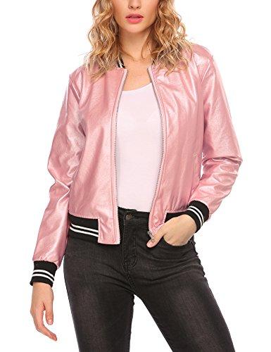 Leather Baseball Jacket (Easther Womens Faux Leather Short Baseball Bomber Coat Quilted Jacket Pink Medium)
