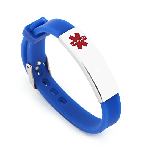 Free Engraving Surgical Steel and Rubber Medical Alert ID Bracelets Adjustable Size (Blue(custom...